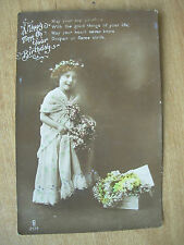 VINTAGE POSTCARD - A HAPPY TIME ON YOUR BIRTHDAY - YOUNG GIRL WITH FLOWERS