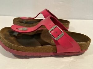Birkenstock Womens Gizeh Thong Sandals 36 Pink Leather Buckle Upper Strap Shoes
