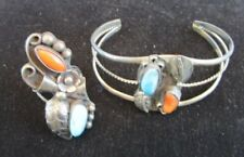 Navajo Phil Chapo Sterling Silver Turquoise Coral Cuff Bracelet & Ring Old Pawn