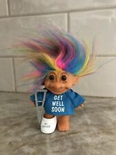 """Vintage Russ Get Well Soon Troll Doll - NEW 5""""With CAST & CRUTCHES"""