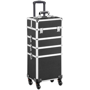 Yaheetech 4 In 1 Aluminum Rolling Makeup Train Case Cosmetic Trolley Professiona