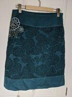 WEIRD FISH needlecord skirt Size 10 bottle green floral pattern cotton lined