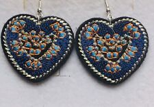 Stunning Navy  Embroidered Heart Drop Earrings With Flowers.-)