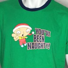 Family Guy Ringer T-Shirt Sz L Stewie You've Been Naughty 2009 Green Christmas