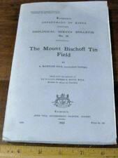 Mount Bischoff Tin Field by Reid 1923 Tasmania Mining Pegmatite Minerals Quartz