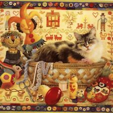 "Lesley Anne Ivory.""Agneatha (Cat) In Sewing Basket"",Blank Note,Greeting Card"