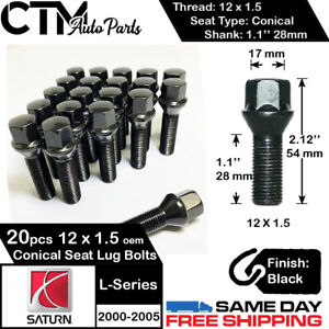 20PC 12X1.5 SATURN FACTORY OEM BLACK LUG BOLT FIT 2000-2005 SATURN L-SERIES