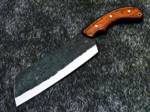 Elegant Custom hand Forged Railroad Spike Carbon Steel Blade Chopper Knife 9258