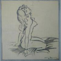 Superbe PIN UP dessin original signé années 1960 - 1970 étude de nu curiosa