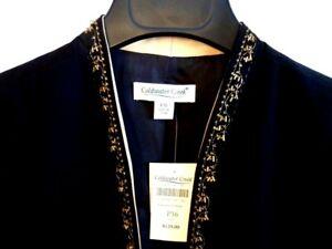 NWT COLDWATER CREEK Fancy 3-piece Embellished Blazer Pant Suit Black / Gold P16