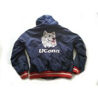Vintage UCONN Huskies Men Hooded Jacket Size L Full Zip Used #1 Apparel