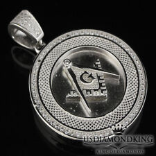 Men's 925 Sterling Silver White Gold Finish G Compass Masonic Charm Pendant New