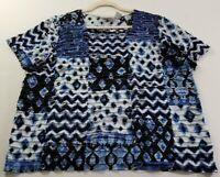 Alfred Dunner Womens Short Sleeve Top 1X Plus Blue Black Zig Zag Ikat Squareneck