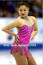 Ice skating dress.Pink competition Figure Skating Dress .fringe tassel skirt