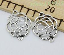 Tibetan silver charm connector flower fit DIY Necklace bracelet 10-200pc 23x19mm