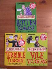 TERRY DEARY BOOK SET Horrible Histories x 3 - Romans Tudors Victorians - NEW