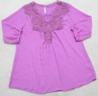 Fu Gui Xing Purple Blouse Tee Shirt 2XL Short Sleeve Women Solid Woman Polyester
