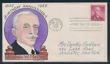"""#1072-24 """"ANDREW W. MELLON"""" ON FDC HAND PAINTED WRIGHT CACHET BT865"""