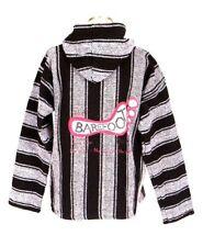 Baja Hoodie Jacket Black Earth Ragz Barefoot Serape Stripe Pullover Shirt Mens L