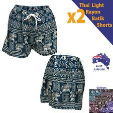 2 pcs Women Ladies Summer Light Elephant Thai Style Shorts Rayon Size 6-12 NEW