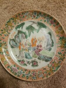 Antique chinese famille rose porcelain plate