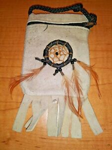 Handmade Leather Medicine Bag with Dreamcatcher neck cord Many Colors