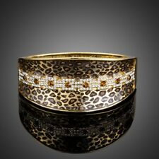 Leopard Pattern Gold Plated Stellux Austrian Crystal Cuff Bangle Bracelet MB0078