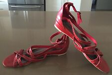 Lovely FLORSHEIM Red Leather Criss Cross Ankle Strap Sandals Size 41