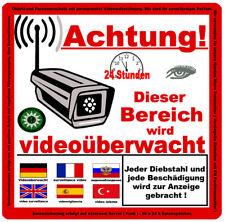 ACHTUNG! Videoüberwachung Aufkleber, Warnaufkleber Hinweis Kamera 6 Sprachen