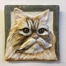 New listing Persian Longhair Cat Feline Ceramic Tile 3d Pet Portrait Sondra Alexander Art