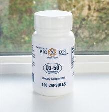 Bio-Tech D3-50 50,000 IU 100 caps Exp 7/2020 No Tax BioTech Vitamin D3 Free Ship