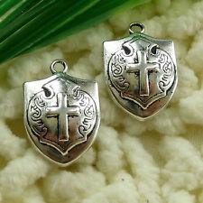 Free Ship 50 pieces tibetan silver shield charms 21x14mm #1497