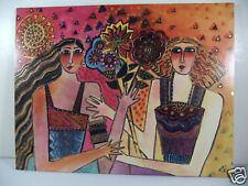 Laurel Burch Greeting Card Birthday Card Friendship Two Girlfriends Flowers New