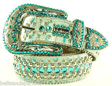 BB Simon Teal and Silver Leather Belt 34 L New