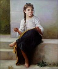 Quality Hand Painted Oil Painting Repro Bouguereau Sewing, 1898 20x24in