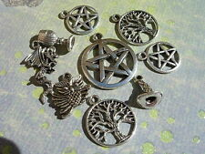 9 pc. Mixed WICCAN Charm Lot Pentacles CHALICE Dragon OWL Tree PAGAN d.i.y.