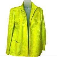 Nina Mclemore Neon Green Blazer Jacket Silk Blend Standing Collar Women Size 8