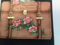 1940s Vtg CONGRATULATIONS On Your SUCCESS BRIEFCASE Shape GREETING CARD