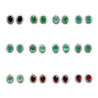 CHOOSE NOW VARIATION EARRINGS REAL EMERALD SAPPHIRE RUBY CZ EAR STUD 925 SILVER
