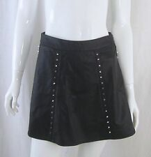 Gothic Punk FOREVER 21 Black Vegan Leather Spike Studded Skater Circle Skirt XS