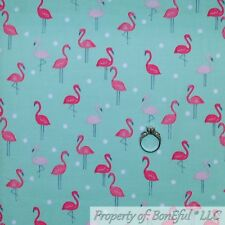 BonEful FABRIC Cotton Quilt Green White Dot Pink FLAMINGO Florida Beach 99 SCRAP