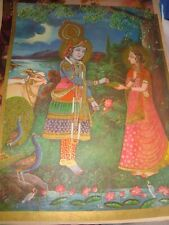 Old Vintage Paper Print of Radha & Krishna  Image from India  1960