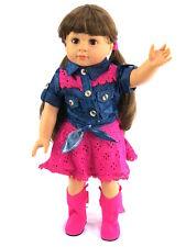 "Western Denim Cowgirl Cowboy Skirt Set Doll Clothes For 18"" American Girl"