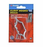 2x Zenith CLEAT HOOK Tying Off Awning Rope ZINC PLATED STEEL, 2pcs- 70mm or 90mm
