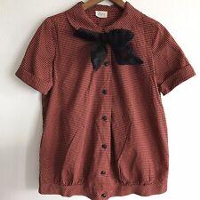 Vintage Maternity Blouse Storktogs Neck Tie Bow Checkered Orange Black Shirt