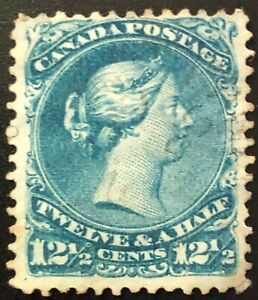 CANADA 1868 # 28 QUEEN VICTORIA - LARGE QUEEN 12 1/2 cent BLUE USED