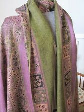 Delightful hand woven warm woollen shawl in golds and soft pink.