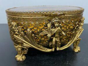 Vtg Art Nouveau Gold Gilt Ormolu Cherub Ornate Hinged Glass Jewelry Vanity Box