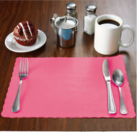 100 Raise® Watermelon Pink Paper Placemats,Scalloped,10x14 place mats,Disposable