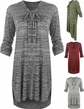 Knielange 3/4 Arm Damenkleider mit V-Ausschnitt aus Polyester